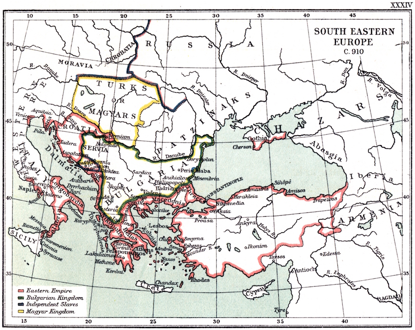 Croatia and the Balkans in 910, around the time of King Tomislav's rule.