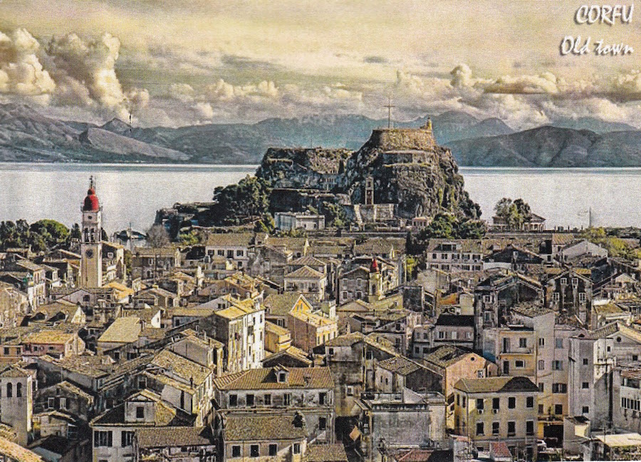 Old postcard photo of the town of Corfu