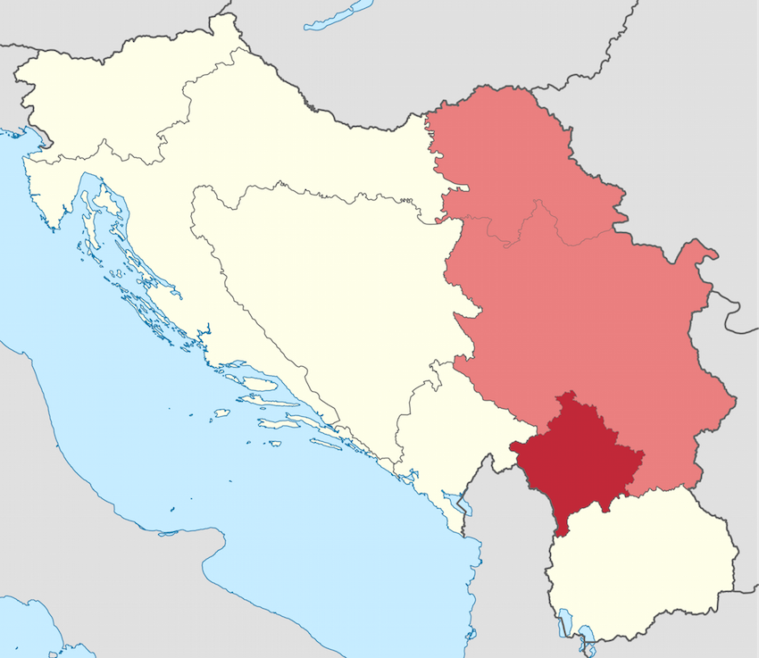 Kosovo, an autonomous region (dark red) that was technically part of Serbia though predominantly ethnically Albanian.