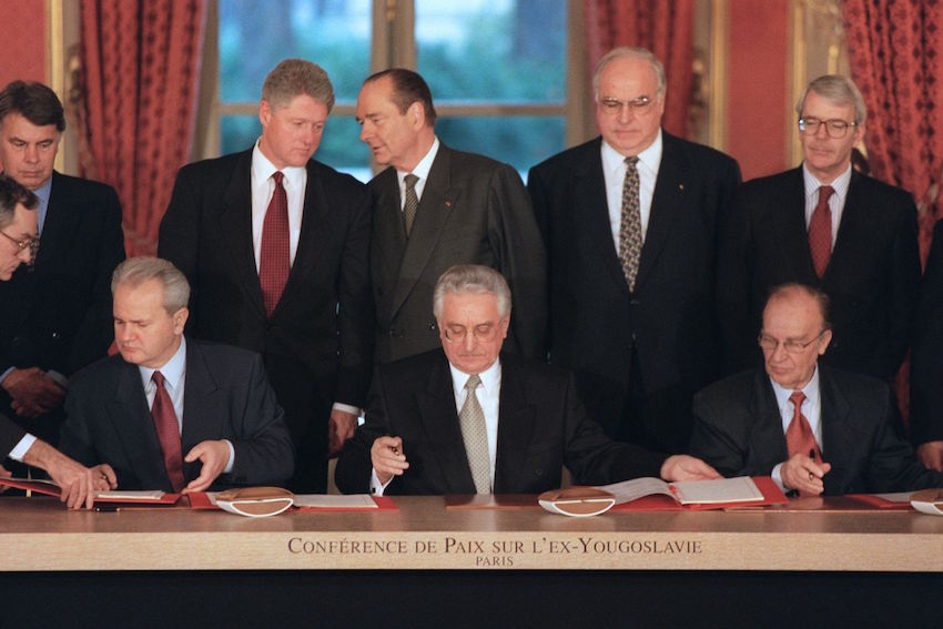 The Dayton Peace Accords, signed in France between the leaders of Serbia, Croatia and Bosnia-Herzegovina