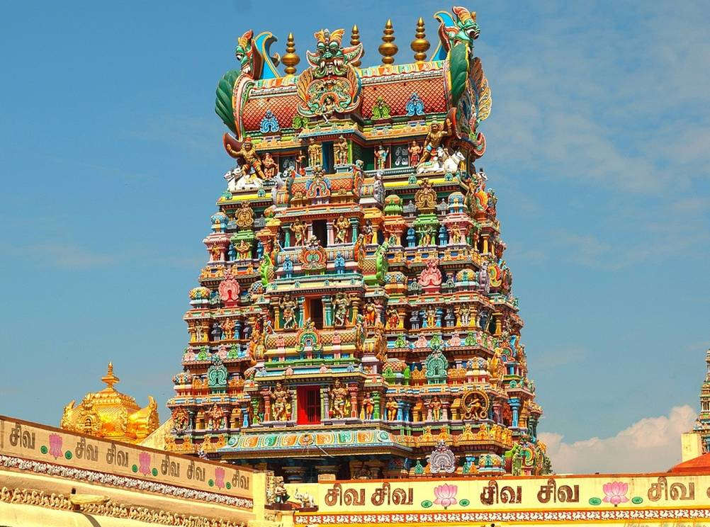 One of the spires of the Meenakshi Amman Temple